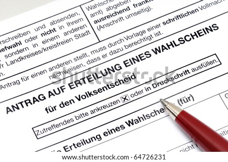 Application for a voting paper for a german referendum