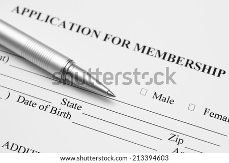 Application for membership. Black and White.