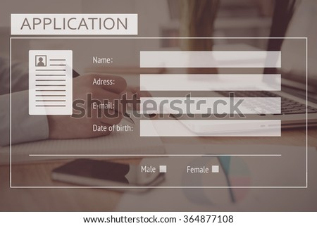 Application form. Close-up of business man writing something in his note pad with digitally composed application form over it