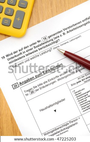 Application form for housing allowance with ballpoint-pen