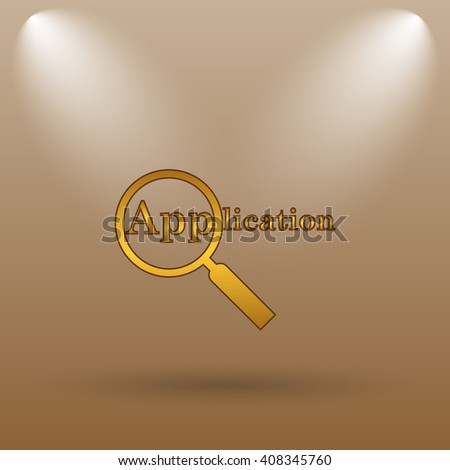 Application icon. Internet button on brown background. - stock photo
