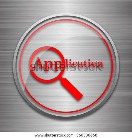 Application icon. Internet button on metallic background.  - stock photo
