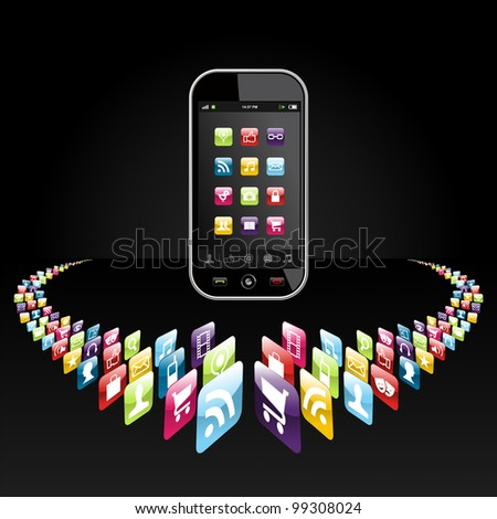 Application icons for mobile device in circle on black background. - stock photo