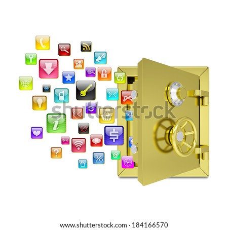 Application icons in the open safe. Isolated on white background - stock photo