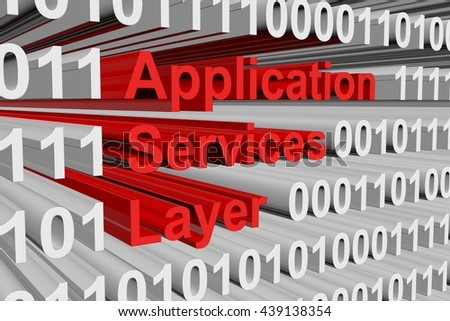 application services layer in the form of binary code, 3D illustration - stock photo
