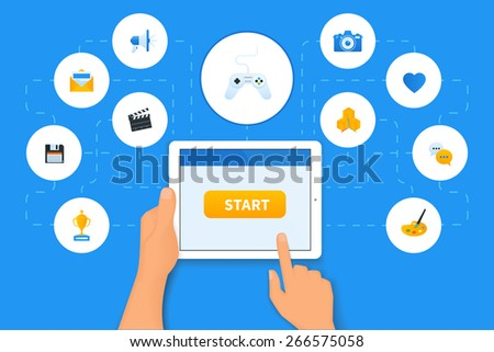 Applications for tablet pc with gaming icon in the center - stock photo
