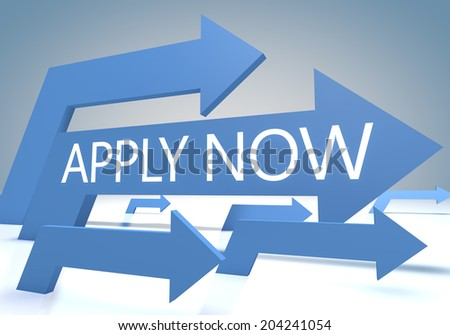 Apply now 3d render concept with blue arrows on a bluegrey background. - stock photo