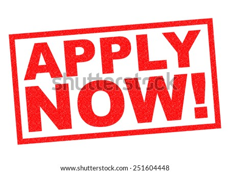 APPLY NOW! red Rubber Stamp over a white background. - stock photo