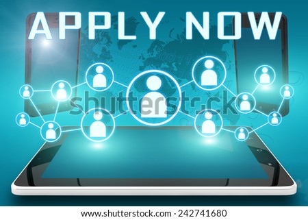 Apply Now - text illustration with social icons and tablet computer and mobile cellphones on cyan digital world map background - stock photo