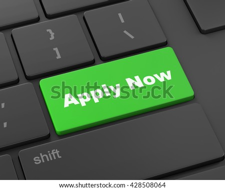 Apply now with keyboard, 3d rendering - stock photo