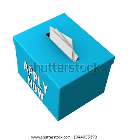 Apply now words on a box isolated on white background. 3d illustration