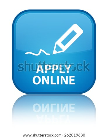 Apply online (edit pen icon) cyan blue square button - stock photo