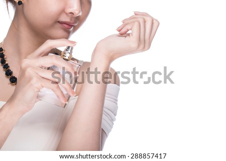 Apply Perfume woman with white background