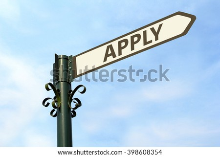 APPLY WORD ON ROADSIGN - stock photo