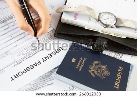 Applying for New Rushed Passport - stock photo