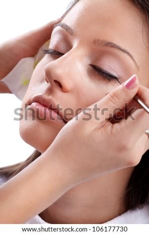 Applying professional make-up on eyes - stock photo