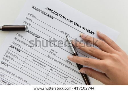 Applying the Application form to applying job - stock photo
