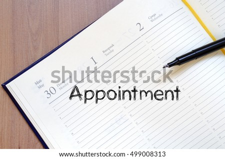 Appointment text concept write on notebook