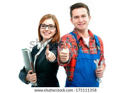 Apprentices for handyman and office showing thumbs up. Isolated on white background - stock photo