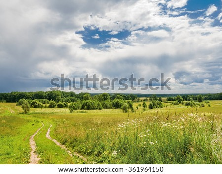 Approach of thunderstorm. Kaluga region of Russia - stock photo