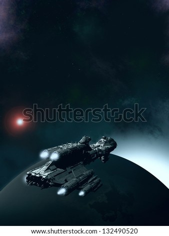 Approaching Dawn - Science fiction scene of a spaceship in orbit around an earthlike planet with the sun rising, 3d digitally rendered illustration - stock photo