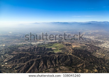 approaching Los Angeles Airport from the South - stock photo