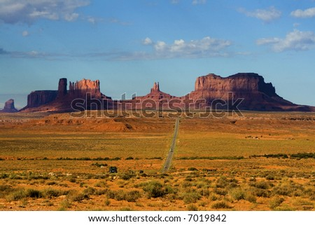 Approaching Monument Valley - stock photo