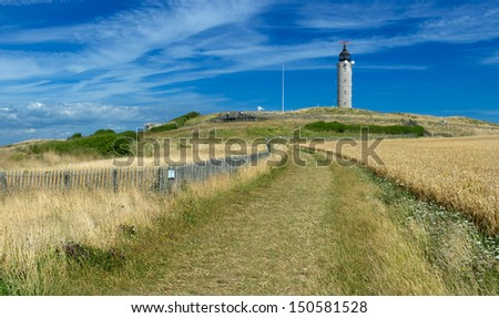 Approaching the lighthouse of Cap Gris-Nez from the south - stock photo