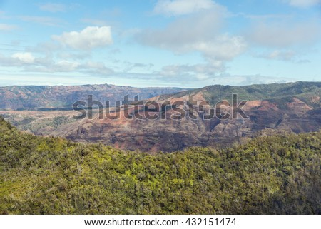 Approaching Waimea Canyon. Approaching the canyon by helicopter from the west