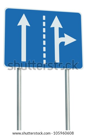 Appropriate traffic lanes at crossroads junction, right turn exit ahead, isolated blue road sign, white arrows, EU european roadside signage, abstract alternative route choice metaphor - stock photo