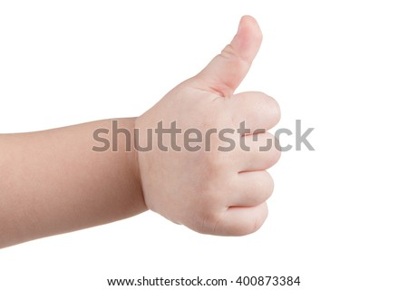 Approval thumbs up like sign, caucasian child hand gesture isolated over white background - stock photo
