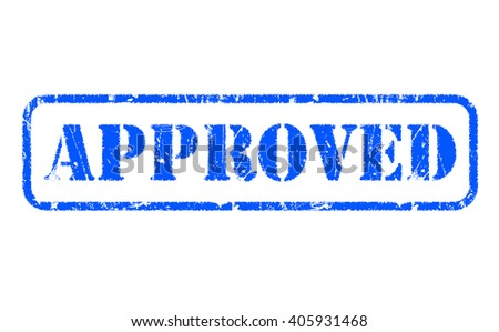 APPROVED blue rubber stamp text on white - stock photo