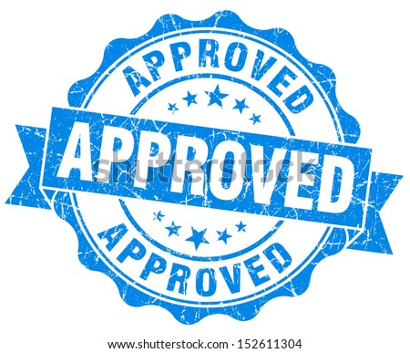 approved grunge blue stamp - stock photo