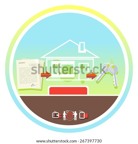 Approved mortgage loan application with house key and home. Concept in flat design cartoon style on stylish background. Raster version - stock photo