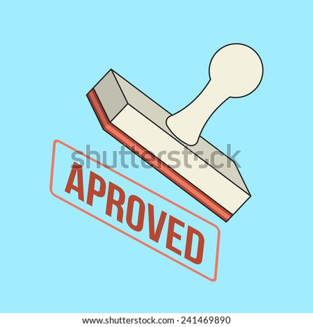 Approved Stamp Flat Line Icon - stock photo