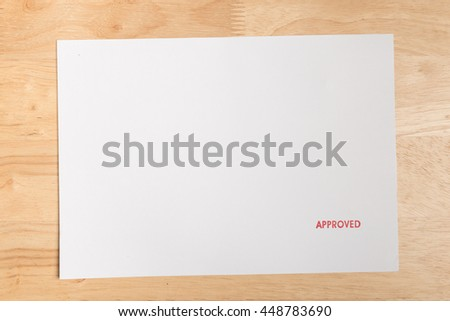 Approved Stamp On white paper