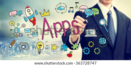 Apps concept with businessman above the city