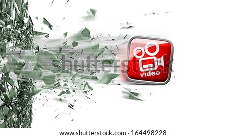 APPS icon breaks glass isolated on white background High resolution 3d  - stock photo