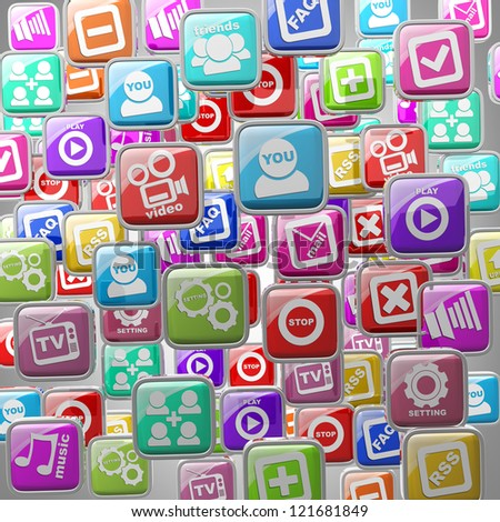 APPS icons abstract background High resolution 3d render