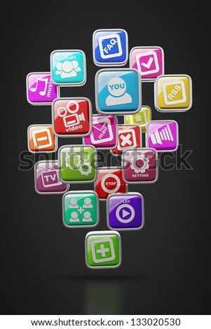 APPS icons isolated on black background High resolution 3d render