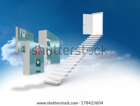 Apps on abstract screen against steps leading to open door in the sky