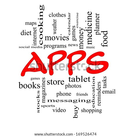 Apps Word Cloud Concept in red caps with great terms such as games, videos, tablets, music and more.