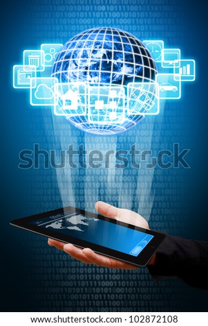 Apps world and touch pad download : Elements of this image furnished by NASA - stock photo