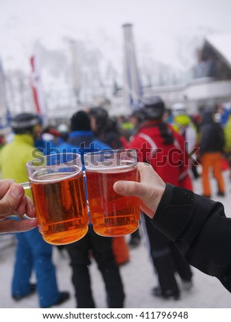 Apres Ski  At Skiing Resort - stock photo