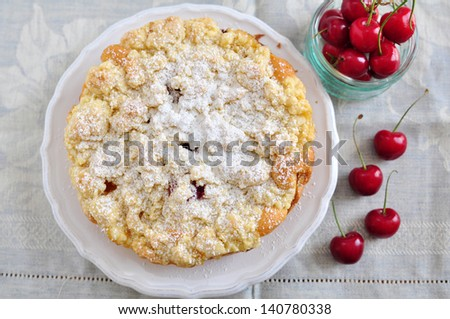 Apricot and Cherry Streusel Cake - stock photo