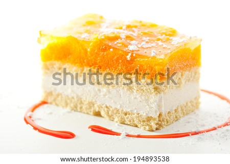 Apricot Cake with Strawberries Topping