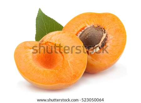 Apricot fruit closeup isolated on white background