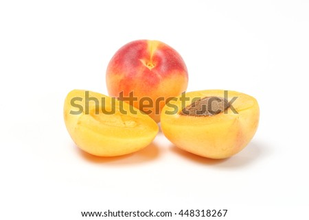 Apricot fruit sweet red yellow whole dry sliced on white background