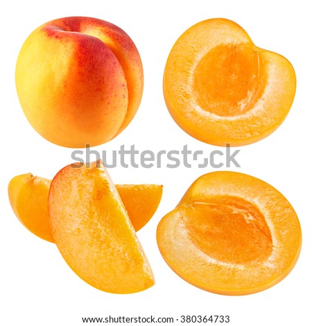 Apricot fruits collection isolated Clipping Path
