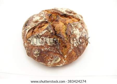 Apricot hazelnut crusty bread isolated on a white background - stock photo